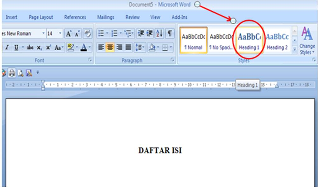 Membuat Daftar Isi (Table of Contents) di Word 2007 ~ Anak