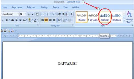 how to create a contents page in word 2007