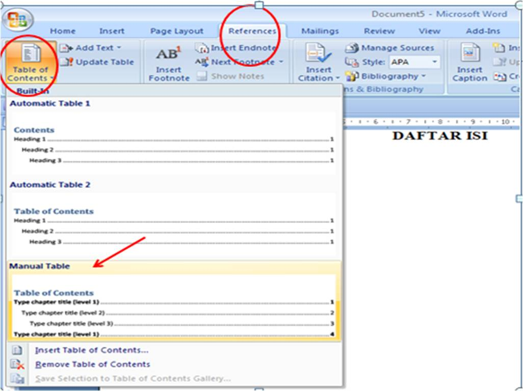 Membuat Daftar Isi (Table of Contents) di Word 2007 ~ Anak
