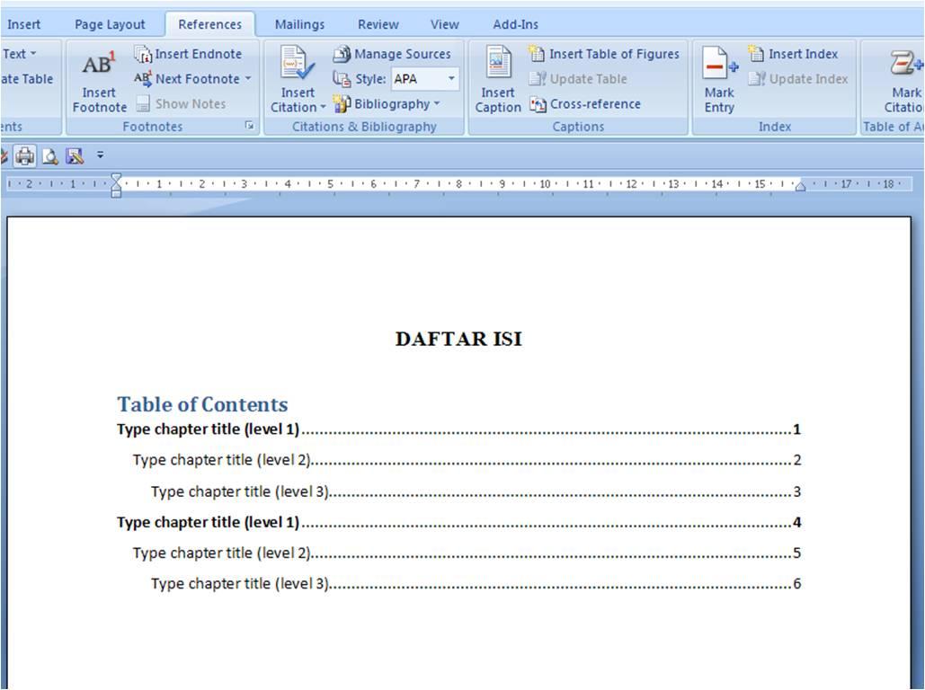 Membuat Titik-titik Untuk Daftar Isi Pada Word 2007