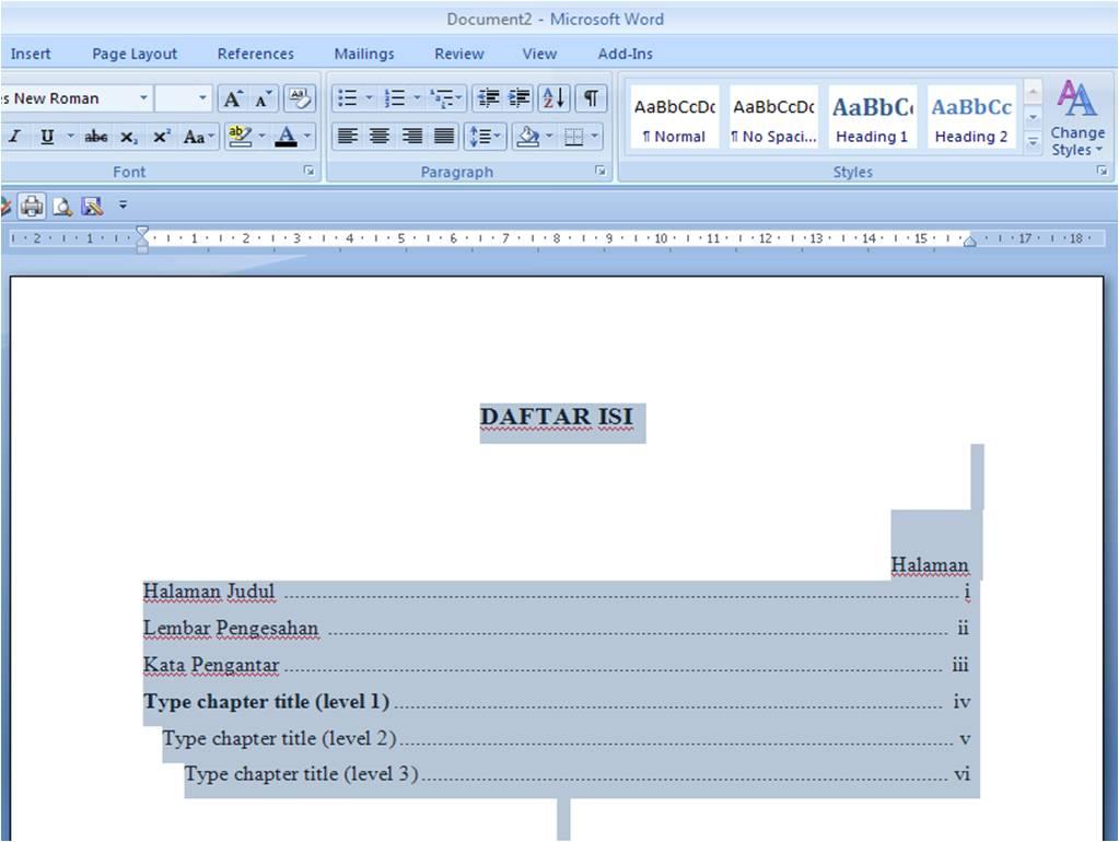 cara membuat daftar isi di microsoft word 2010